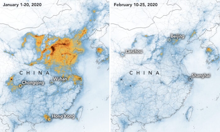 Satellite images of China, taken in January (L) and February showing a significant decrease in nitrogen dioxide. (NASA)