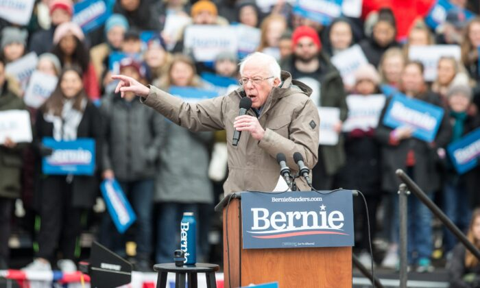 Democratic presidential candidate Sen. Bernie Sanders (I-Vt.) during a campaign rally on the Boston Common in Boston, Mass., on Feb. 29, 2020. (Scott Eisen/Getty Images)
