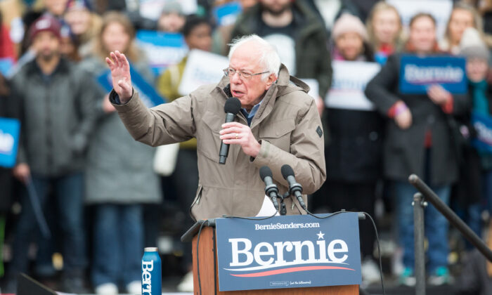 Democratic presidential candidate Sen. Bernie Sanders (I-Vt.) speaks during a campaign rally on the Boston Common in Boston, Mass., on Feb. 29, 2020. (Scott Eisen/Getty Images)