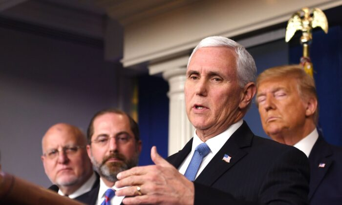 Vice President Mike Pence speaks at a news conference at the White House on Feb. 26, 2020. (Eric Baradat/AFP via Getty Images)