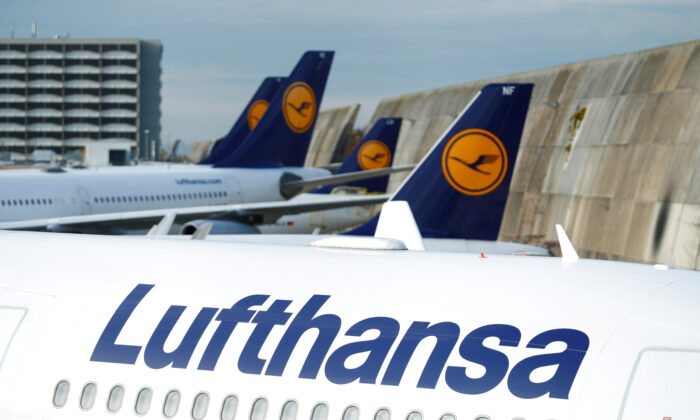 Lufthansa airplanes are seen parked on the tarmac at Frankfurt airport, Germany, on  Nov. 7, 2019. (Ralph Orlowski/Reuters/File Photo)