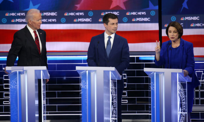 Democratic presidential candidates former Vice President Joe Biden (L) and former South Bend, Indiana, Mayor Pete Buttigieg and Sen. Amy Klobuchar (D-Minn.) participate in the Democratic presidential primary debate at Paris Las Vegas in Las Vegas, Nevada on Feb. 19, 2020. (Mario Tama/Getty Images)