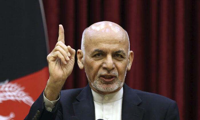 Afghan President Ashraf Ghani speaks during a news conference at the presidential palace in Kabul, Afghanistan, on March 1, 2020. (Rahmat Gul/AP Photo)