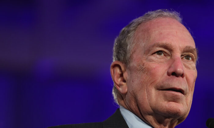 Democratic presidential candidate, former New York City mayor Mike Bloomberg speaks during a campaign rally at Hangar 9 in San Antonio, Texas, on March 1, 2020. (Joe Raedle/Getty Images)