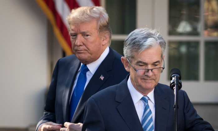 President Donald Trump looks on as then-nominee Federal Reserve Chairman Jerome Powell takes to the podium during a press event at the White House, on Nov. 2, 2017. (Drew Angerer/Getty Images)