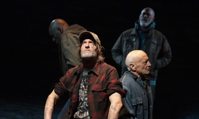 """(L–R) Ezra Knight, Michael Laurence (seated), Thomas Kopache, and Michael Gaston in """"Coal Country."""" (Joan Marcus)"""