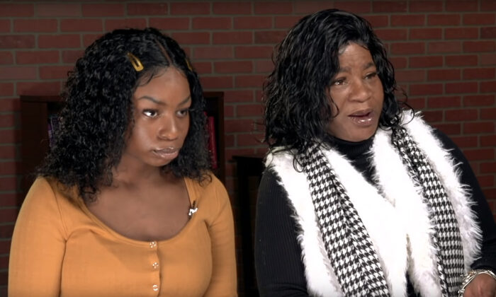Debra Harrell (R) and her daughter Regina are seen in a recent Stossel TV video. (Screenshot/YouTube)