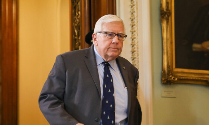 Sen. Mike Enzi (R-Wyo.) during a break in the impeachment trial of President Donald Trump at the Capitol in Washington on Jan. 29, 2020. (Charlotte Cuthbertson/The Epoch Times)