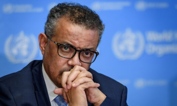 World Health Organization (WHO) Director-General Tedros Adhanom Ghebreyesus attends a daily press briefing on COVID-19, at the WHO headquarters in Geneva on March 2, 2020. (Fabrice Coffrini/AFP via Getty Images)