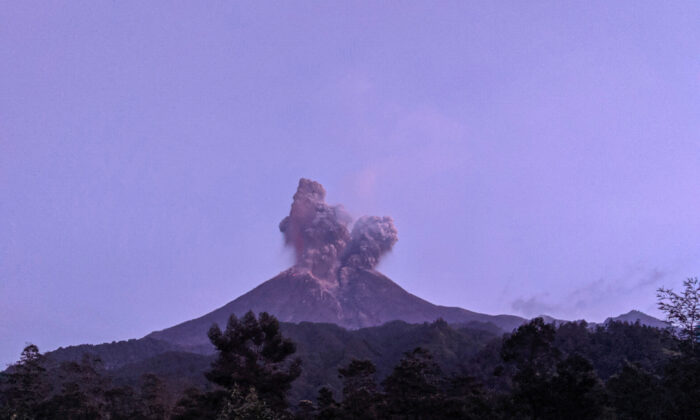 Mount Merapi volcano erupts as seen from Cangkringan district in Sleman, Yogyakarta, Indonesia, on March 3, 2020. (Antara Foto/Rizky Tulus/ via Reuters)