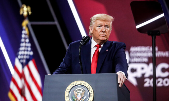 President Donald Trump speaks at the CPAC convention in National Harbor, Md., on Feb. 29, 2020. (Samira Bouaou/The Epoch Times)