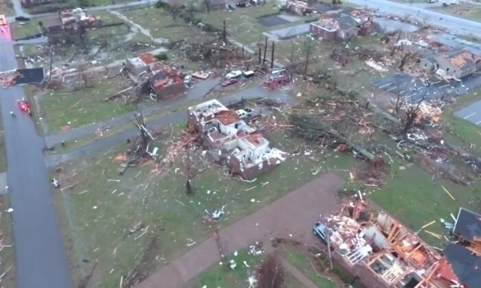 Aerial footage shows home damage in Tennessee's Mt. Juliet area on March 3, 2020. (Courtesy of WSMV)