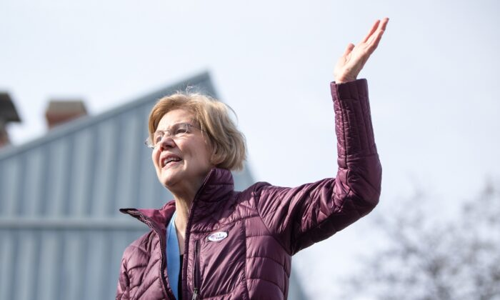 Democratic presidential candidate Sen. Elizabeth Warren (D-Mass.), who helped create the Consumer Financial Protection Bureau, in Cambridge, Mass., on March 3, 2020. (Scott Eisen/Getty Images)