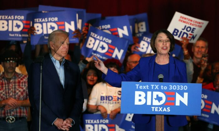 Sen. Amy Klobuchar (D-Minn.) endorses Democratic presidential candidate former Vice President Joe Biden at a campaign rally in Dallas, Texas, on March 2, 2020. (Richard W. Rodriguez/AP Photo)
