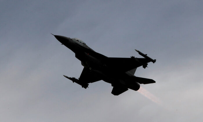 A F-16 fighter jet takes off during a military drill at Zhi-Hang Air Base in Taitung, Taiwan, on Jan. 30, 2018. (Tyrone Siu/Reuters)