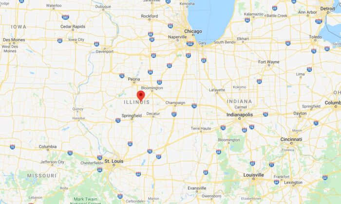 A map shows Interstate 55 in Lincoln, Illinois. (Google Maps)