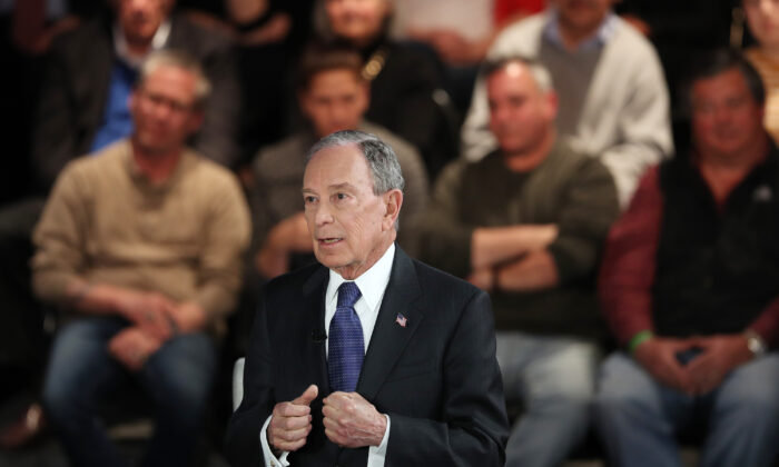 Democratic presidential candidate former New York City Mayor Mike Bloomberg speaks during a Fox News town hall in Manassas, Va., on March 2, 2020. (Joe Raedle/Getty Images)
