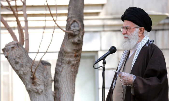 Iranian Supreme Leader Ayatollah Ali Khamenei speaks during a tree planting ceremony in Tehran, Iran, on March 3, 2020. (Office of the Iranian Supreme Leader via AP)