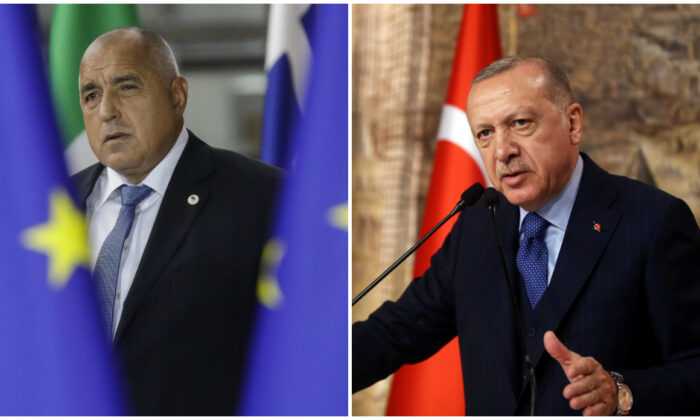 (L) Bulgarian Prime Minister Boyko Borissov arrives during the second day of the EU summit meeting at the European Union headquarters in Brussels on Oct. 18, 2019. (Thierry Roge/BELGA/AFP via Getty Images), (R) Turkish President Tayyip Erdogan speaks during a meeting in Istanbul, Turkey on Feb. 29, 2020. (Turkish Presidential Press Office/Handout via Reuters)