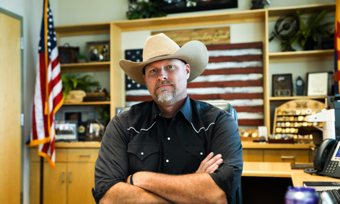 Pinal County Sheriff Mark Lamb in his office in Florence, Ariz., on Nov. 12, 2019. (Charlotte Cuthbertson/The Epoch Times)