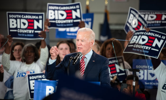 Democratic presidential candidate Joe Biden addresses the crowd during a South Carolina campaign launch party in Columbia, S.C., on Feb. 11, 2020. (Sean Rayford/Getty Images)