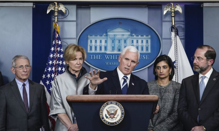 U.S. Vice President Mike Pence speaks during a briefing on the administration's coronavirus response in the press briefing room of the White House in Washington, on March 3, 2020. Standing with Pence, from L to R, Dr. Anthony Fauci, director of the National Institute of Allergy and Infectious Diseases, Debbie Birx, White House Corona Virus Response Coordinator, Seema Verma, administrator of the Centers for Medicare and Medicaid Services, and Alex Azar, Secretary of Health and Human Services. (Drew Angerer/Getty Images)