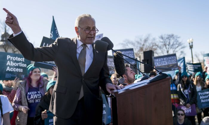 Senate Minority Leader Sen. Chuck Schumer (D-N.Y.) speaks at an abortion rights rally outside of the Supreme Court as the justices hear oral arguments in the June Medical Services v. Russo case in Washington on March 4, 2020. (Sarah Silbiger/Getty Images)