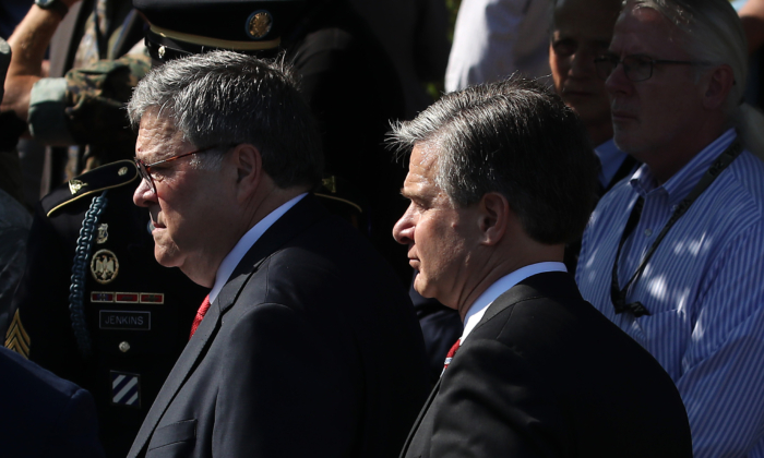 Attorney General William Barr (L) and FBI director Christopher Wray at the Pentagon in Arlington, Va., on Sept. 11, 2019. (Mark Wilson/Getty Images)