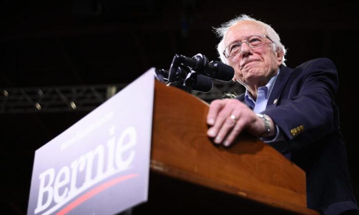 Democratic presidential candidate Sen. Bernie Sanders (I-Vt.) speaks in Vermont on March 3, 2020. (Chip Somodevilla/Getty Images)