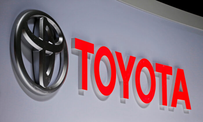 A Toyota logo is displayed at the 89th Geneva International Motor Show in Geneva, Switzerland on March 5, 2019. (Pierre Albouy/Reuters)