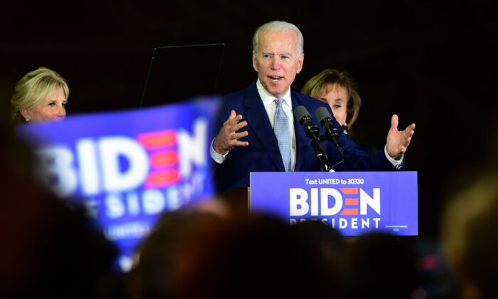 Democratic presidential hopeful former Vice President Joe Biden flanked by his wife Jill (L) and sister Valerie Biden Owens (R) speak during a Super Tuesday event in Los Angeles, California, on March 3, 2020. (Frederic J. Brown/AFP via Getty Images)