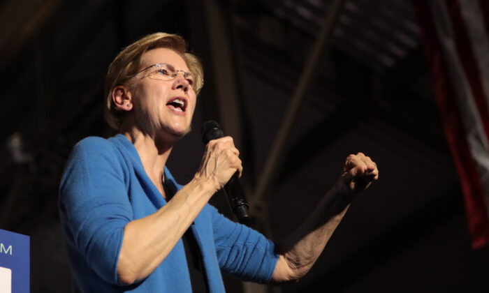 Then-Democratic presidential candidate Sen. Elizabeth Warren (D-Mass.) speaks to supporters during a rally at Eastern Market as Super Tuesday results continue to come in, in Detroit, Michigan on March 3, 2020. (Scott Olson/Getty Images)