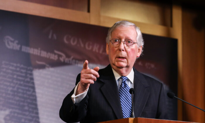 Senate Majority Leader Sen. Mitch McConnell (R-Ky.) speaks to media after the Senate voted to acquit President Donald Trump on two articles of impeachment, at the Capitol in Washington on Feb. 5, 2020. (Charlotte Cuthbertson/The Epoch Times)