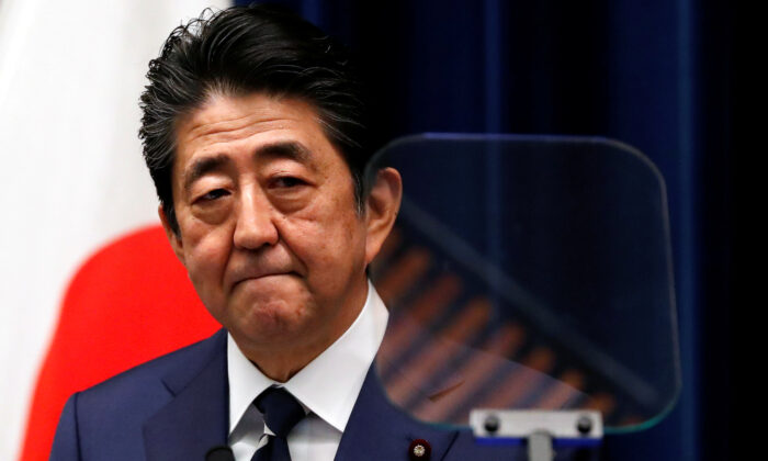 Japan's Prime Minister Shinzo Abe attends a news conference on coronavirus at his official residence in Tokyo, Japan, on Feb. 29, 2020. (Issei Kato/Reuters)