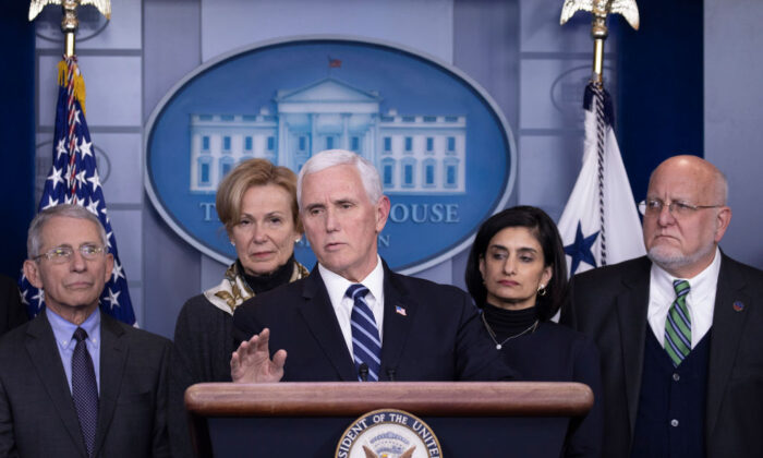 Vice President Mike Pence speaks during a briefing on the Trump administration's coronavirus response in the press briefing room of the White House in Washington on March 4, 2020. Pence was joined by (L–R) Dr. Anthony Fauci, director of the Institute of Allergy and Infectious Diseases, Dr. Debroah Birx, coronavirus response coordinator in the White House, Seema Verma, administrator for the Centers for Medicare & Medicaid Services, and Dr. Robert Redfield, director of the CDC. (Tasos Katopodis/Getty Images)