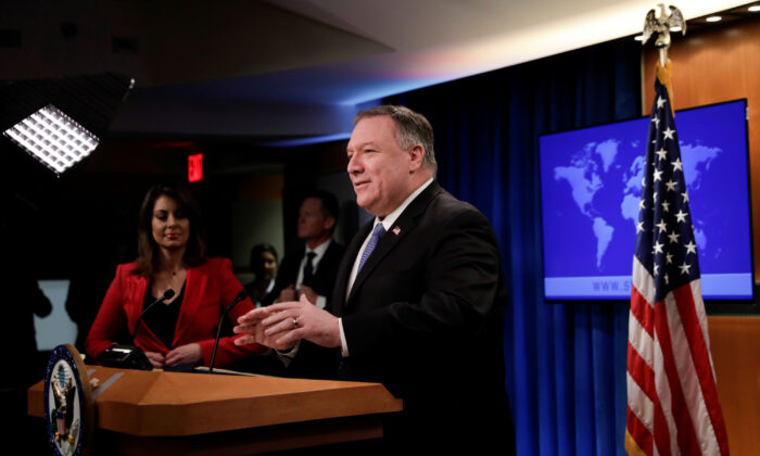 U.S. Secretary of State Mike Pompeo delivers remarks to the media at the State Department in Washington, D.C., on March 5, 2020. (Yuri Gripas/Reuters)