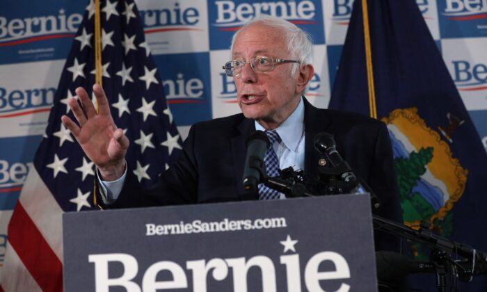 Democratic presidential candidate Sen. Bernie Sanders (I-Vt.) speaks to reporters at his campaign office in Burlington, Vermont, on March 4, 2020. (Alex Wong/Getty Images)