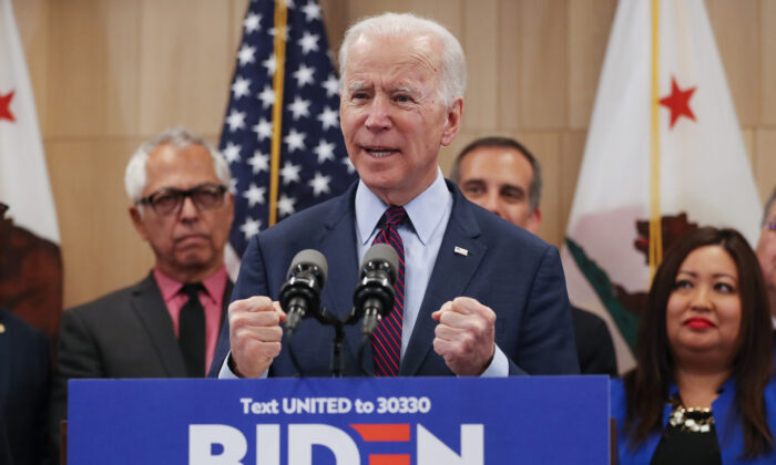 Democratic presidential candidate former Vice President Joe Biden speaks while standing with supporters at a campaign event at the W Los Angeles hotel in Los Angeles, California, on March 4, 2020. (Mario Tama/Getty Images)