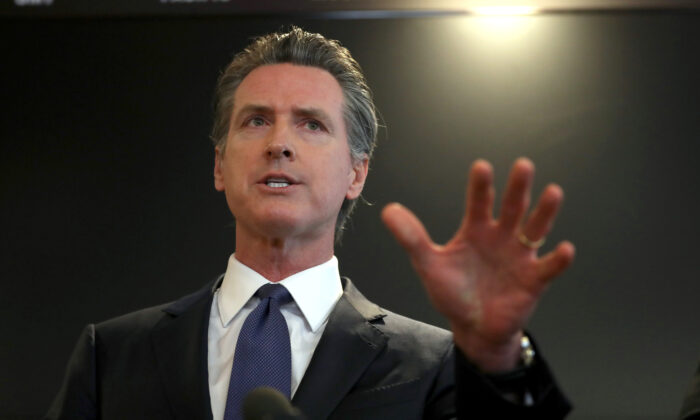 California Gov. Gavin Newsom speaks during a news conference at the California Department of Public Health in Sacramento, California, on Feb. 27, 2020. (Justin Sullivan/Getty Images)