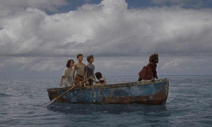 "(L–R) Devin France, Gavin Naquin, Gage Naquin, Romyri Ross, and Yashua Mack in star in ""Wendy,"" an adventure for the determined young at heart. (Searchlight Pictures / 2020 Twentieth Century Fox Film Corporation)"
