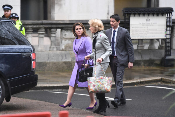 Princess Haya Bint al-Hussein arrives with her lawyer
