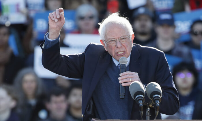 Democratic presidential hopeful Sen. Bernie Sanders (I-Vt.) addresses a campaign rally at Grant Park Petrillo Music Shell in Chicago, Ill., on March 7, 2020. (Kamil Krzaczynski/AFP via Getty Images)