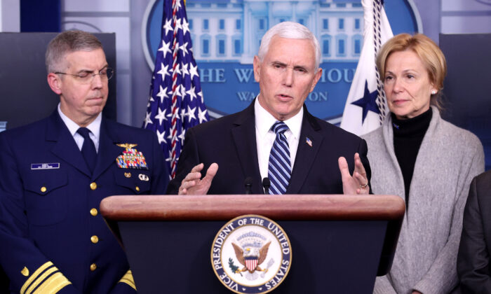 Vice President Mike Pence and members of the Coronavirus Task Force hold a press briefing at the White House in Washington on March 6, 2020. (Win McNamee/Getty Images)