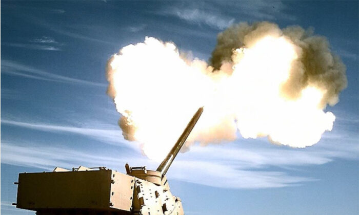 The prototype Extended Range Cannon Artillery is fired in Wharton, N.J., in a file photograph. (Edward Lopez/DoD)