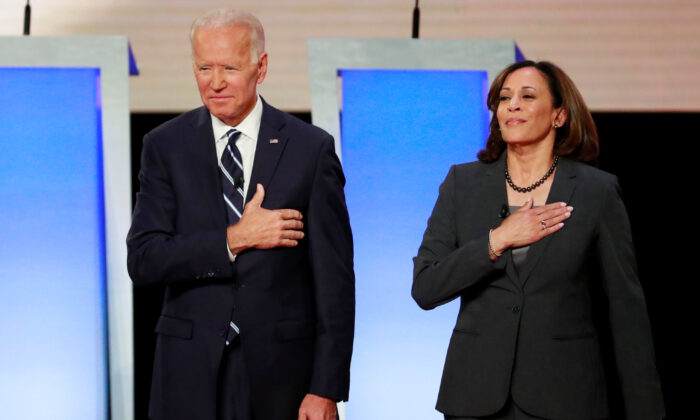 Former Vice President Joe Biden and Senator Kamala Harris (D-Calif.) before the second night of the second presidential Democratic candidates debate in Detroit, Mich., on July 31, 2019. (Reuters/Lucas Jackson)