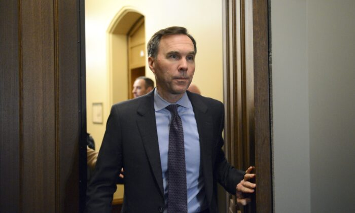 Minister of Finance Bill Morneau leaves a cabinet meeting on Parliament Hill in Ottawa on Thursday, Feb. 20, 2020. (The Canadian Press/Sean Kilpatrick)