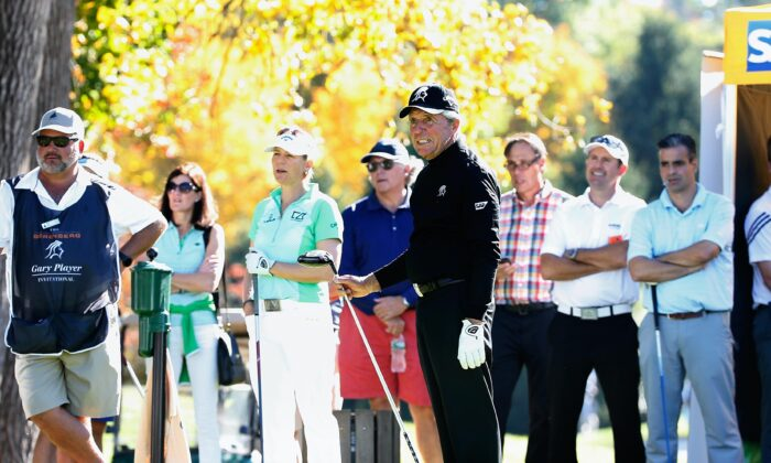 Gary Player and Annika Sorenstam during the Berenberg Gary Player Invitational Pro-Am held at GlenArbor Golf Club, in Bedford Hills, New York, on Oct. 12, 2015. (Michael Cohen/Getty Images)