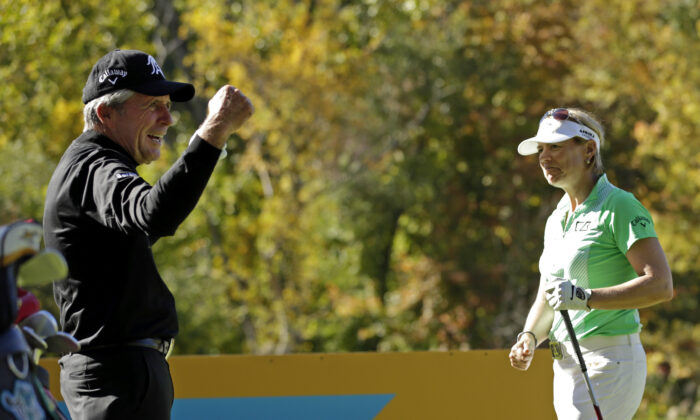 Gary Player reacts after hitting a longer tee shot then Annika Sorenstam on the 15th hole during the Berenberg Gary Player Invitational Pro-Am in Bedford Hills, New York, on Oct. 12, 2015. (Adam Hunger/Getty Images)