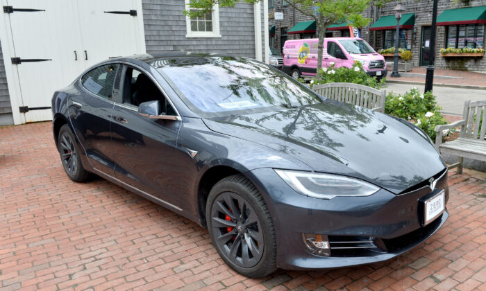 A Tesla Model S in Nantucket, Mass., on June 24, 2018. The luxury Model S would not be eligible for a tax credit in legislation proposed by Sens. Joni Ernst and Mike Braun. (Noam Galai/Getty Images for Nantucket Film Festival)