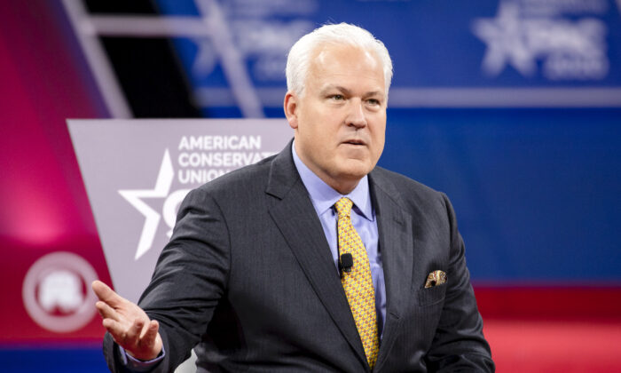 Matt Schlapp (L), Chairman of the American Conservative Union, hosts a conversation with Laura Trump (not pictured), President Donald Trump's daughter-in-law and member of his 2020 reelection campaign, and Brad Parscale (not pictured), campaign manager for Trump's 2020 reelection campaign, during the Conservative Political Action Conference 2020 (CPAC) hosted by the American Conservative Union in National Harbor, Md., on Feb. 28, 2020. (Samuel Corum/Getty Images)